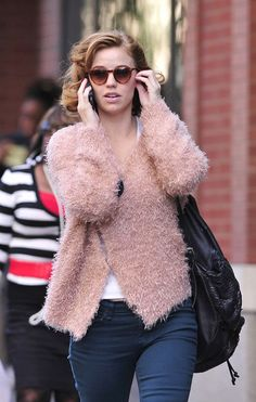 """Kelli Garner Actress Kelli Garner is spotted walking around wearing a pink frayed jacket on set of the new TV show """"Pan Am"""" in New York."""