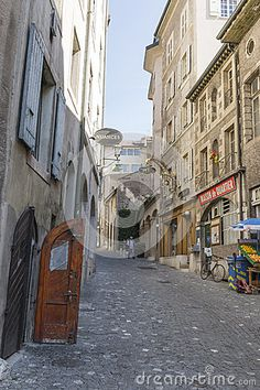 Old street Rue Chausse - Coq in Geneva, Switzerland. Europe.