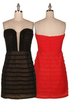 STRAPLESS PIN TUCK DETAILED DRESS.  #19O-DC592