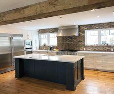 Brick Backsplash With Organic White Quartz Countertop