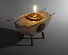 ARK  An Oil Lamp of Concrete Iron and Bronze by TheCeremonialHome, $150.00