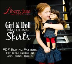 CD DOLL CLOTHES PATTERN BUNDLE - GIRL AND DOLL MATCHING SKIRTS