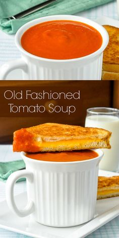 Homemade Tomato Soup - quick & easy to make even using good quality canned tomatoes. Makes an ideal, warm comfort food lunch with a grilled cheese sandwich!