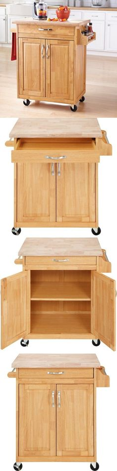 Kitchen Islands Kitchen Carts 115753: Kitchen Cart Rolling Island Natural Cabinet Wood Butcher Block Counter Drawer -> BUY IT NOW ONLY: $145.57 on eBay!