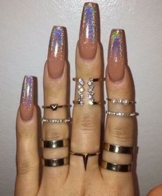 Chrome and nude nails