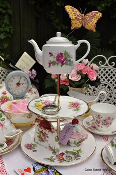 alice in wonderland adult tea party | Included in this tea set is a quirky vintage three tier cake stand ...
