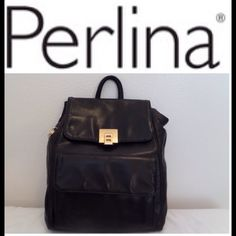 I just discovered this while shopping on Poshmark: PERLINA Black Leather Back Pack. Check it out! Price: $70 Size: OS, listed by alamode