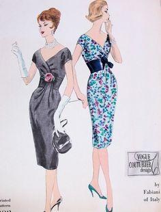 Шикарный 50-х годов Фабиани вечернее коктейльное платье выкройка ВОГ кутюрье 202…
