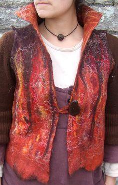 handmade red fiery nuno felt soft merino wool womans waistcoat /vest,natural fibers,earthy unique bespoke design