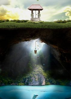 wishing well fish fantasy butterflies water nature serene beauty Landscape What Lies Beneath, Wishing Well, Photomontage, Fantasy World, Photo Manipulation, Belle Photo, Amazing Art, Cool Art, Concept Art