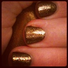 Bronzed nails.  (Basecoat Sally Hansen Co-co a Go-go, topcoat Wet n' Wild The Gold and The Beautiful.)
