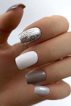 100 Trendy Stunning Manicure Ideas For Short Acrylic Nails Design – Page 83 of 101 - acrylic nails Cute Acrylic Nails, Acrylic Nail Designs, Cute Nails, Pretty Nails, My Nails, Nail Designs Gray, Design Page, Nagellack Design, Square Nail Designs