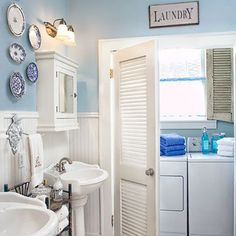 Over 40 different creative laundry room ideas, cabinet, designs and hacks to help make your laundry adventures a little more pleasant and functional. managing to fit everything you need in a small laundry room. Laundry Bathroom Combo, Blue Laundry Rooms, Bathroom Closet, Small Laundry, Basement Bathroom, Small Bathroom, Master Bathroom, Upstairs Hallway, Bathroom Plumbing