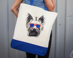 Large Grocery Tote Bag with Undorkie Yorkie in neon sunglasses (Etsy link)
