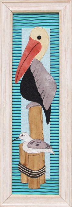 """6""""x22"""" (inset) white barnwood frame includes foam core mounting board, attached sawtooth hanger. Mount any 6""""x22"""" mini quilt or wall hanging easily.  Pelican pattern sold separately at: http://www.patchabilities.com/shop/c/p/P155-Pelican-x7119367.htm"""