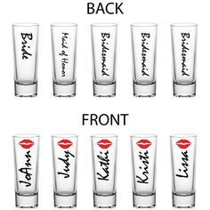 set of 5 2 ounce tall shot glasses w lipstick lips awesome gift