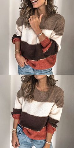 Top Sweater, Knit Top Sweater, Knit Top Sweater, Type:Long SleeveThickness:Mid-weightMaterial:Cotton,PolyesterNeckline:Stand Casual Gored Knit Round neck Long sleeve Sweaters - ClothingI Description Product Name Sexy de. Knitting Terms, Color Block Sweater, Mode Inspiration, Color Blocking, Couture, Crochet, My Style, Womens Fashion, How To Wear