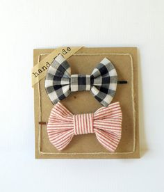 Set of Two  Bow Hair Pins Red Stripes & Black/White by Fr33na, $7.99