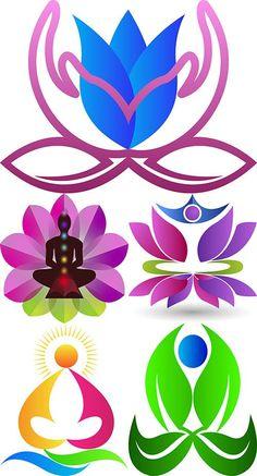Йога логотипы в векторе