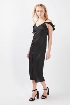 7f7b413e9e   Satin Button Through Midi Dress by Nobody s Child Topshop Sale