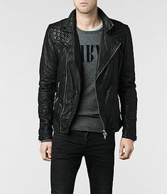 Hombre Kushiro Leather Biker Jacket (Black) | ALLSAINTS.com