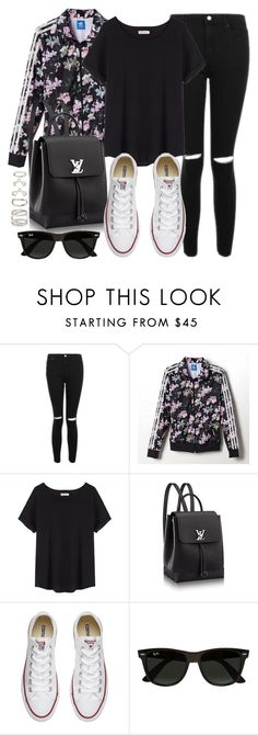 """""""Style #11643"""" by vany-alvarado ❤ liked on Polyvore featuring Topshop, adidas, Organic by John Patrick, Converse, Ray-Ban and Forever 21"""