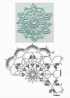 #_AQUA Starburst Crochet Doily with pattern.