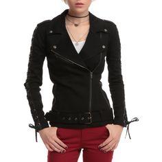 Joan Jett Tripp NYC Black Twill Moto Jacket | Hot Topic (155 AUD) ❤ liked on Polyvore featuring outerwear, jackets, biker jacket, tripp jacket, motorcycle jackets, twill moto jacket and rider jacket