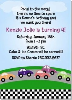 cute wording for race car party invite