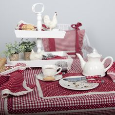 Kitchen   Tableware   Chicken   Red   Check   Tablecloth   Dot Love Time, Kitchen Collection, Table Settings, Table Decorations, Tableware, Red, Inspiration, Furniture, Kitchen Ideas