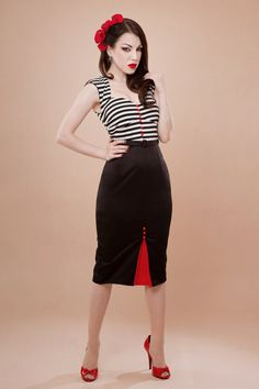 Pin up rockabilly striped dress by Hola Chica by holachicaclothing, $170,00