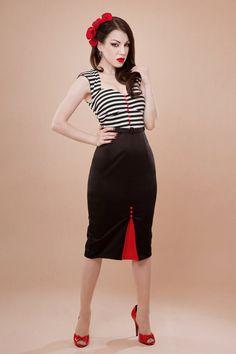Pin up rockabilly striped dress