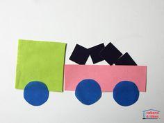 """Des véhicules en papier - puzzle """"tangram"""" - Cabane à idées Puzzles, Preschool Crafts, About Me Blog, Childhood, Logos, Genre, Triangles, Trains, Planes"""
