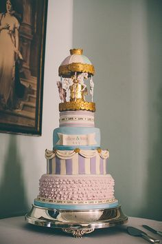 Vintage Fairground Wedding Herefordshire Carousel Cake made by a friend - http://whimsicalwonderlandweddings.com/2014/04/a-fun-vintage-fairground-wedding.html