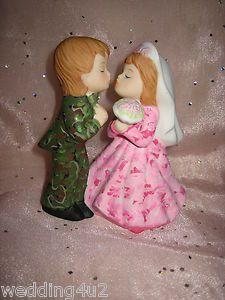 REDNECK WEDDING PINK CAMO DEER HUNTER HUNTING CAKE TOPPER