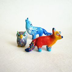 New Joyful Animals. The wolf, the fox and howl. Polymer clay animal figurines