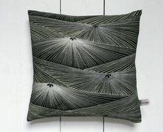 "Beautiful abstract palm tree leaf pattern. Black  green Vintage Kimono Fabric Cushion Pillow 'Palms' (1960 - 12"" x 12"")"