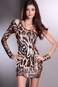 Brown Animal One Shoulder Long Sleeve Sexy Dress