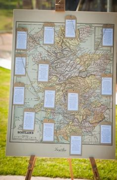 Wedding table plan map with luggage tags.