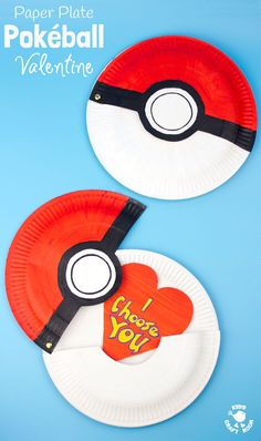 """This Paper Plate Pokeball craft actually opens with storage space inside for figures, or cards! We've turned ours into a cute """"I Choose You"""" Pokemon Valentine! This is such a fun Pokemon craft for kids. Valentine's Day February Paper Plate Crafts For Kids, Valentine's Day Crafts For Kids, Valentine Crafts For Kids, Valentines For Boys, Craft Activities For Kids, Diy For Kids, Kids Fun, Walmart Valentines, Christmas Crafts"""