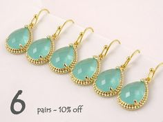 Wedding Jewelry Set of 6 10% Off Mint Green by Crystalshadow