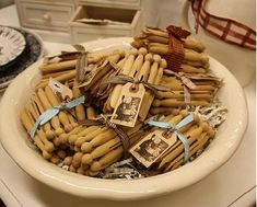 cute tags on the bunches of clothespins