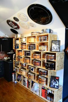 Drum room: Snare collection; signed drum heads
