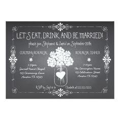 Chalkboard Wedding Rehearsal Dinner Cards Chalkboard Wedding Rehearsal Mason Jar Invitation