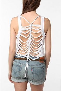 Sparkle & Fade Macramé Back Tank Top Altered Couture, Diy Clothing, Celebrity Pictures, Urban Outfitters, Basic Tank Top, Tank Tops, How To Wear, Clothes, Gossip News