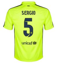 FC Barcelona 2014-15 season Sergio #5 Away Third Green jersey [162]