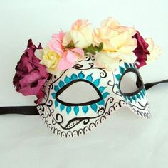 Day of the dead mask. DIY with a white masquerade mask and glued flowers- Mexican NZ- www.flyingburritobrothers.co.nz