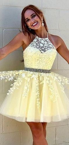 Yellow homecoming dresses - Baby Yellow Halter Lace Homecoming Dresses With Beaded, Homecoming Dresses, Baby Yellow Halter Lace Homecoming Dresses With Beaded, Homecoming Dresses, – Yellow homecoming dresses Dama Dresses, Dresses Short, Hoco Dresses, Dresses For Teens, Tight Dresses, Sexy Dresses, Elegant Dresses, Summer Dresses, Beaded Dresses