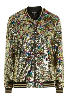 **Rainbow Sequin Bomber by Jaded - Topshop