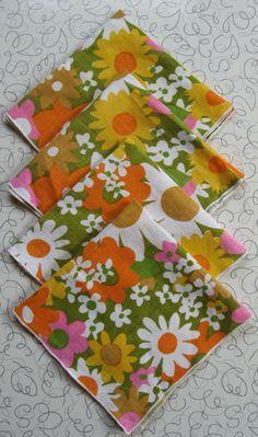 Flower Power linen napkins.